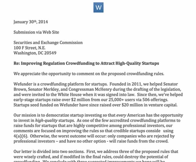 Wefunder the largest regulation crowdfunding platform by every talks with sec pronofoot35fo Choice Image